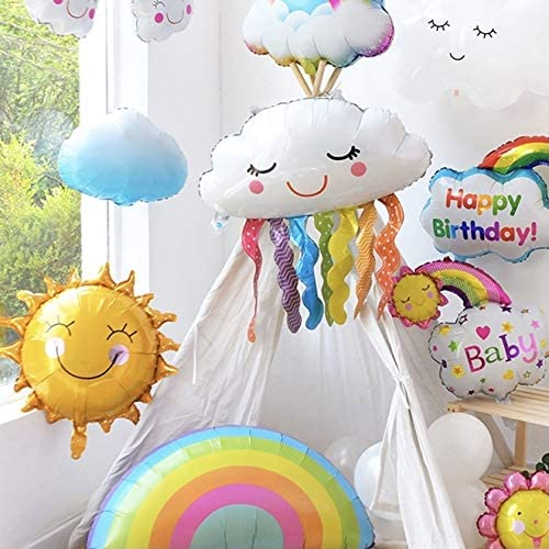8 Pcs Rainbow Balloons Birthday Party Colorful Decorations Supplies Included Rainbow Foil Balloons, Cloud Balloons and Star Balloons, Baby Shower