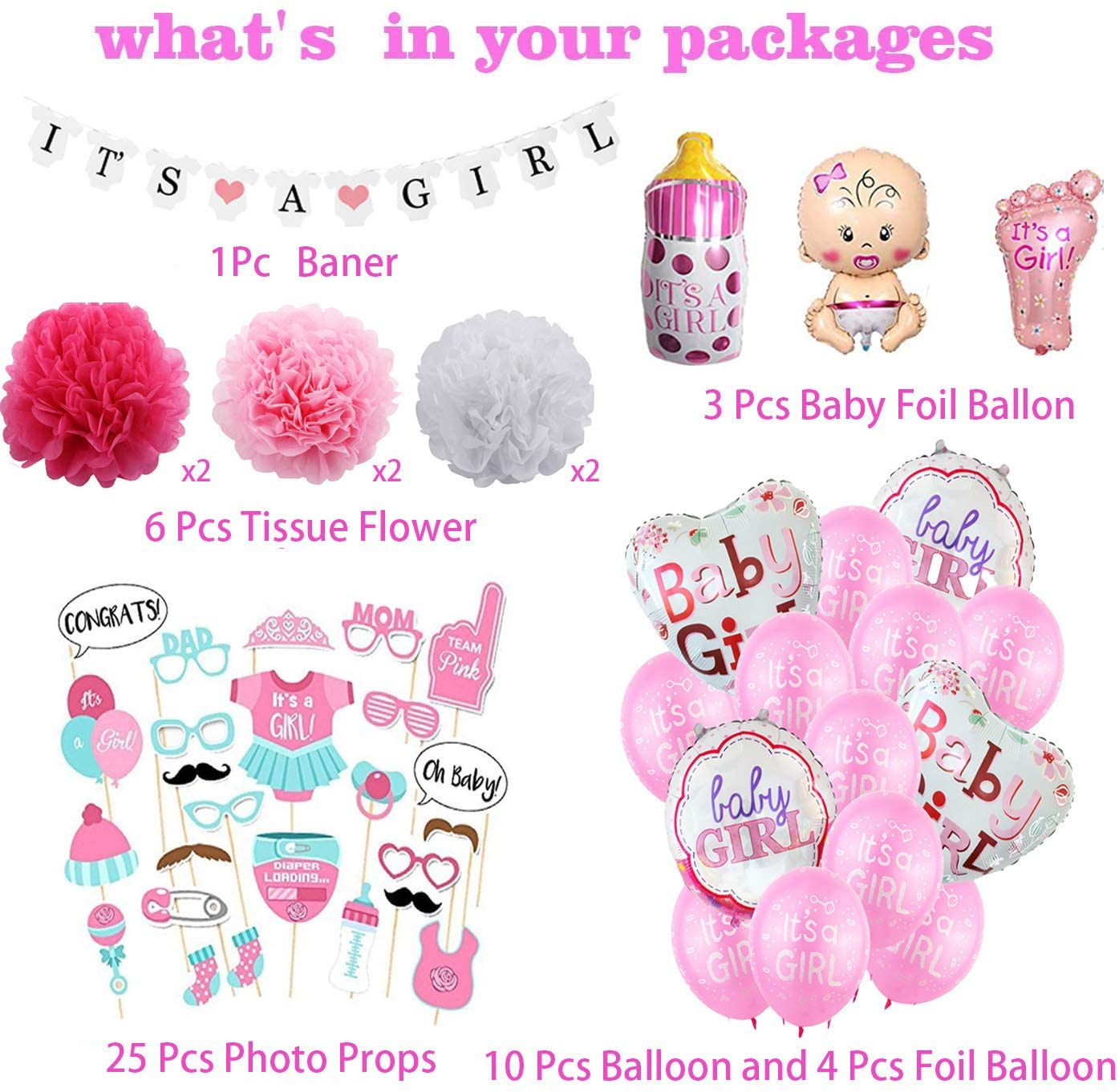 Girl Baby Shower Decorations , Girl Baby Shower Balloons - Baby Girl Foil Balloon Baby Bottle Balloon It is a Girl Baby Shower