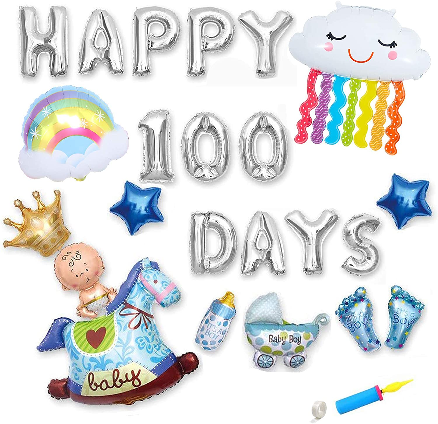 100 Days Foil Balloons Banner, Baby's 100 Days Themed Party Decorations, Baby Boy Happy 100 Days Party Decorations Supplies (Silver). Foil Balloons Birthday Party Set, Baby Shower Decorations, Cute Rainbow Balloons
