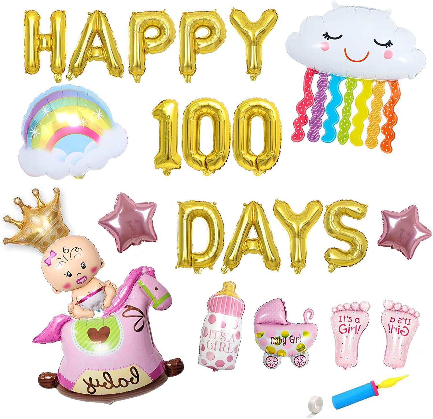 100 Days Foil Balloons Banner, Baby's 100 Days Themed Party Decorations, Baby Girl Happy 100 Days Party Decorations Supplies (Golden). Foil Balloons Birthday Party Set, Baby Shower Decorations, Cute Rainbow Balloons